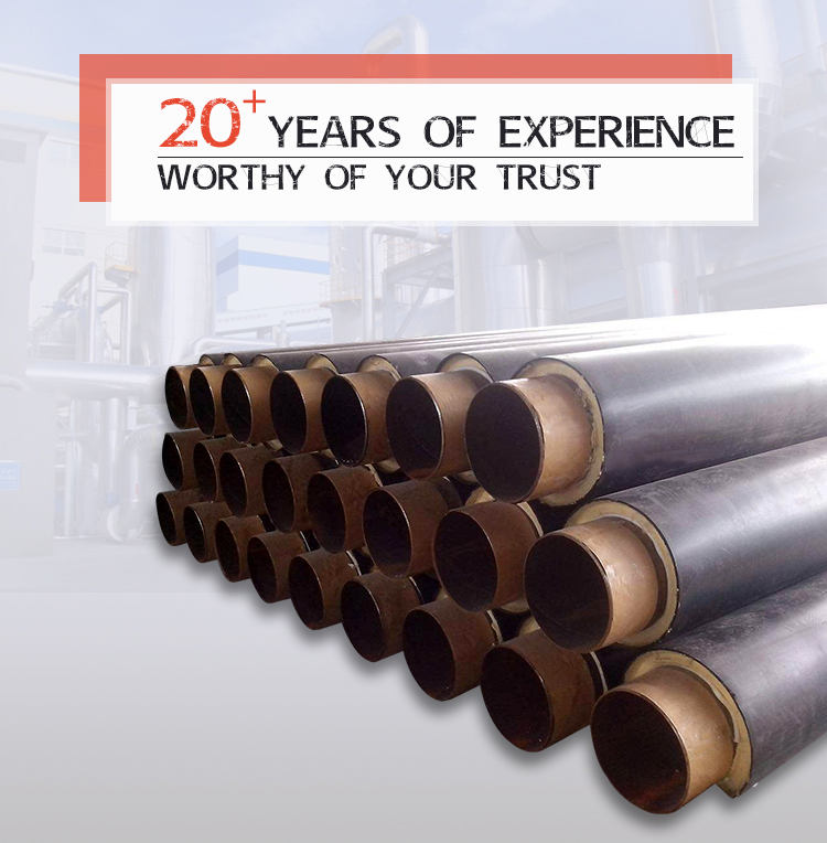 Underground direct buried pre insulated polyurethane thermal insulation steel pipe for hot water